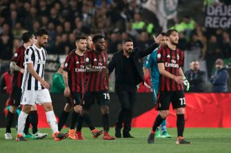 AC Milan's coach from Italy Gennaro Gattuso reacts during the Italian Tim Cup (Coppa Italia) final Juventus vs AC Milan at the Olympic stadium on May 9, 2018 in Rome. (Photo by Isabella Bonotto / AFP)        (Photo credit should read ISABELLA BONOTTO/AFP via Getty Images)