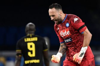 Napoli's Colombian goalkeeper David Ospina reacts after Napoli scored an equalizer during the Italian Cup (Coppa Italia) semi-final second leg football match Napoli vs Inter Milan on June 13, 2020 at the San Paolo stadium in Naples, played behind closed doors as the country gradually eases its lockdown aimed at curbing the spread of the COVID-19 infection, caused by the novel coronavirus. (Photo by Filippo MONTEFORTE / AFP) (Photo by FILIPPO MONTEFORTE/AFP via Getty Images)