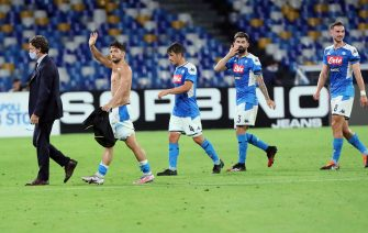 NAPLES - JUNE 13: Dries Mertens of Napoli, Diego Demme of Napoli, Elseid Hysaj of Napoli during the semi final second match of the Coppa Italia between SCC Napoli and Internazionale on June 13, 2020 in Naples, Italy (Photo by Ciro Santagelo/BSR Agency/Getty Images)