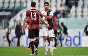 during the Coppa Italia Semi-Final Second Leg match between Juventus and AC Milan at Allianz Stadium on June 12, 2020 in Turin, Italy.