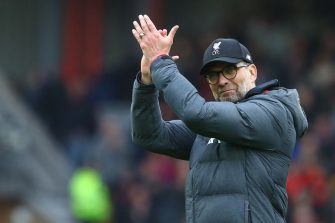 Liverpool's German manager Jurgen Klopp reacts at the final whistle  during the English Premier League football match between Liverpool and Bournemouth at Anfield in Liverpool, north west England on March 7, 2020. (Photo by GEOFF CADDICK / AFP) / RESTRICTED TO EDITORIAL USE. No use with unauthorized audio, video, data, fixture lists, club/league logos or 'live' services. Online in-match use limited to 120 images. An additional 40 images may be used in extra time. No video emulation. Social media in-match use limited to 120 images. An additional 40 images may be used in extra time. No use in betting publications, games or single club/league/player publications. /  (Photo by GEOFF CADDICK/AFP via Getty Images)
