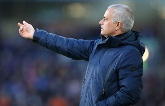 BURNLEY, ENGLAND - MARCH 07:  Jose Mourinho the manager of Tottenham Hotspur looks on during the Premier League match between Burnley FC and Tottenham Hotspur at Turf Moor on March 07, 2020 in Burnley, United Kingdom. (Photo by James Gill - Danehouse/Getty Images)