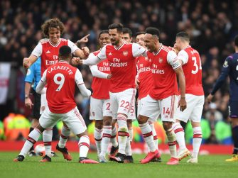 LONDON, ENGLAND - MARCH 07: (2ndL) Alex Lacazette celebrates scoring the Arsenal goal with (L) David Luiz, Pablo Mari and Pierre-Emerick Aubameyang during the Premier League match between Arsenal FC and West Ham United at Emirates Stadium on March 07, 2020 in London, United Kingdom. (Photo by Stuart MacFarlane/Arsenal FC via Getty Images)