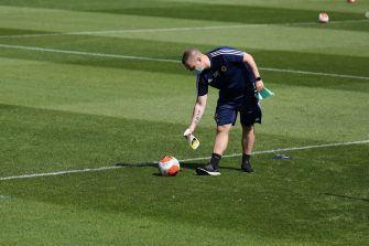 WOLVERHAMPTON, ENGLAND - MAY 20: A English Premier League Nike Ball is sprayed with disinfectant during a training session at Sir Jack Hayward Training Ground on May 20, 2020 in Wolverhampton, England. (Photo by Wolverhampton Wanderers FC/Getty Images)