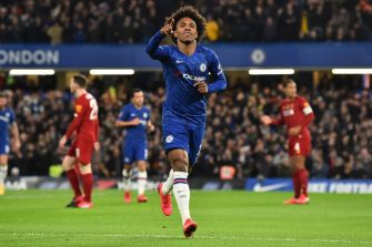 Chelsea's Brazilian midfielder Willian celebrates scoring the opening goalduring the English FA Cup fifth round football match between Chelsea and Liverpool at Stamford Bridge in London on March 3, 2020. (Photo by Glyn KIRK / AFP) / RESTRICTED TO EDITORIAL USE. No use with unauthorized audio, video, data, fixture lists, club/league logos or 'live' services. Online in-match use limited to 120 images. An additional 40 images may be used in extra time. No video emulation. Social media in-match use limited to 120 images. An additional 40 images may be used in extra time. No use in betting publications, games or single club/league/player publications. /  (Photo by GLYN KIRK/AFP via Getty Images)