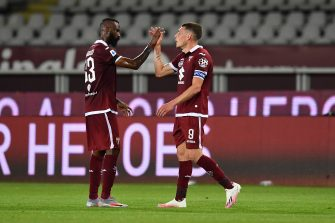 TURIN, ITALY - JUNE 23:  Andrea Belotti (R) of Torino FC celebrates victory with team mate Nicolas Nkoulou at the end of the Serie A match between Torino FC and  Udinese Calcio at Stadio Olimpico di Torino on June 23, 2020 in Turin, Italy.  (Photo by Valerio Pennicino/Getty Images)