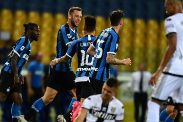 Inter Milan's Dutch defender Stefan de Vrij (2ndL) celebrates after scoring  during the Italian Serie A football match Parma vs Inter played on June 28, 2020 behind closed doors at the Ennio-Tardini stadium in Parma, as the country eases its lockdown aimed at curbing the spread of the COVID-19 infection, caused by the novel coronavirus. (Photo by Miguel MEDINA / AFP) (Photo by MIGUEL MEDINA/AFP via Getty Images)