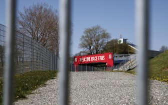 The closed entrance of the Red Bull Ring race track is photographed in Spielberg, southern Austria on April 17, 2020 - The Formula 1 motorsports 2020 season will likely begin in Europe in July and potentially behind closed doors at the racing track in Spielberg when it  gets under way, after the the Covid-19 coronavirus pandemic has caused delays. (Photo by ERWIN SCHERIAU / APA / AFP) / Austria OUT (Photo by ERWIN SCHERIAU/APA/AFP via Getty Images)