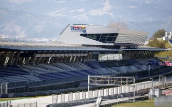 Empty stands at the Red Bull Ring race track are photographed in Spielberg, southern Austria on April 17, 2020 - The Formula 1 motorsports 2020 season will likely begin in Europe in July and potentially behind closed doors at the racing track in Spielberg when it  gets under way, after the the Covid-19 coronavirus pandemic has caused delays. (Photo by ERWIN SCHERIAU / APA / AFP) / Austria OUT (Photo by ERWIN SCHERIAU/APA/AFP via Getty Images)