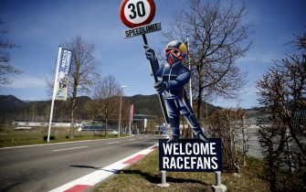 The approach to the Red Bull Ring race track is photographed in Spielberg, southern Austria on April 17, 2020 - The Formula 1 motorsports 2020 season will likely begin in Europe in July and potentially behind closed doors at the racing track in Spielberg when it  gets under way, after the the Covid-19 coronavirus pandemic has caused delays. (Photo by ERWIN SCHERIAU / APA / AFP) / Austria OUT (Photo by ERWIN SCHERIAU/APA/AFP via Getty Images)