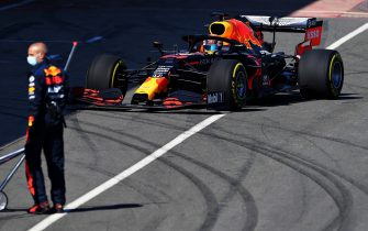 NORTHAMPTON, ENGLAND - JUNE 25: Alexander Albon of Thailand driving the (23) Aston Martin Red Bull Racing RB16 in the Pitlane  during the Red Bull Racing RB16 Filming Day at Silverstone Circuit on June 25, 2020 in Northampton, England. (Photo by Clive Mason/Getty Images)