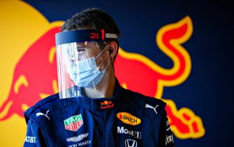 NORTHAMPTON, ENGLAND - JUNE 25: A Red Bull Racing team member looks on in the garage during the Red Bull Racing RB16 Filming Day at Silverstone Circuit on June 25, 2020 in Northampton, England. (Photo by Mark Thompson/Getty Images)