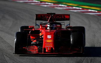 BARCELONA, SPAIN - FEBRUARY 27: Sebastian Vettel of Germany driving the (5) Scuderia Ferrari SF1000 on track during Day Two of F1 Winter Testing at Circuit de Barcelona-Catalunya on February 27, 2020 in Barcelona, Spain. (Photo by Rudy Carezzevoli/Getty Images)