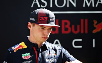 MELBOURNE, AUSTRALIA - MARCH 12: Max Verstappen of Netherlands and Red Bull Racing looks on in the Paddock during previews ahead of the F1 Grand Prix of Australia at Melbourne Grand Prix Circuit on March 12, 2020 in Melbourne, Australia. (Photo by Charles Coates/Getty Images)
