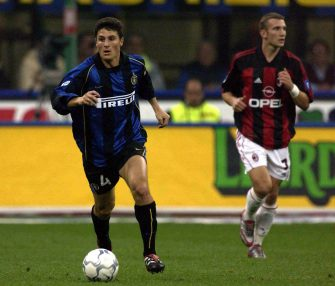 21 Oct 2001:  Javier Zanetti of Inter Milan in action during the Serie A match between Inter Milan and AC Milan, played at the Guiseppe Meazza Stadium, San Siro Milan .   DIGITAL IMAGE Mandatory Credit: Grazia Neri/ALLSPORT
