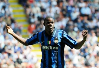 "MILAN, ITALY - APRIL 27, 2008: Mario Balotelli of FC Inter Milan celebrates during the ""Serie A"" 2007-2008 match, round 35,  between Inter Milan and Cagliari at the ""Giuseppe Meazza"" stadium in Milan."