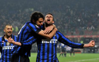 MILAN, ITALY - NOVEMBER 19:  Andrea Ranocchia and Thiago Motta (R) of FC Inter Milan celebrates scoring the first goal during the Serie A match between FC Internazionale Milano and Cagliari Calcio at Stadio Giuseppe Meazza on November 19, 2011 in Milan, Italy.  (Photo by Claudio Villa/Getty Images)