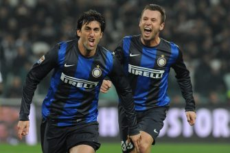 TURIN, ITALY - NOVEMBER 03:  Diego Milito (L) of FC Internazionale Milano celebrates his goal during the Serie A match between Juventus FC and FC Internazionale Milano at Juventus Arena on November 3, 2012 in Turin, Italy.  (Photo by Valerio Pennicino/Getty Images)
