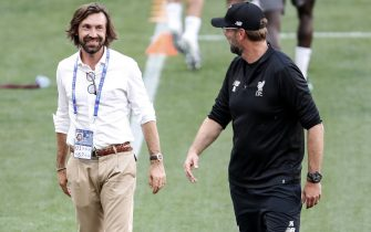 (L-R) Andrea Pirlo, Liverpool FC coach Jurgen Klopp during a training session prior to the UEFA Champions League final match between Tottenham Hotspur FC and Liverpool FC at Estadio Metropolitano on May 31, 2019 in Madrid,(Photo by VI Images via Getty Images)