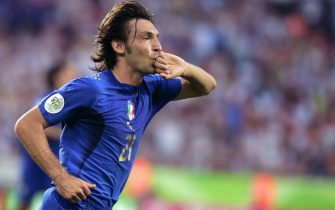 Italian midfielder Andrea Pirlo reacts after scoring during the FIFA World Cup 2006 group E football match Italy vs Ghana, 12 June 2006 at Hannover stadium.    AFP PHOTO/ MICHAEL URBAN (Photo credit should read MICHAEL URBAN/AFP via Getty Images)