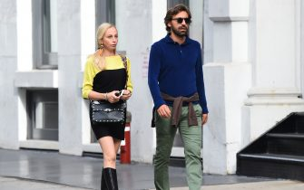NEW YORK, NY - OCTOBER 23:  Valentina Baldini (L) and Andrea Pirlo seen walking in Soho  on October 23, 2017 in New York City.  (Photo by Raymond Hall/GC Images)