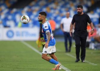 NAPLES, ITALY - JUNE 28: Lorenzo Insigne of SSC Napoli during the Serie A match between SSC Napoli and  SPAL at Stadio San Paolo on June 28, 2020 in Naples, Italy. (Photo by Francesco Pecoraro/Getty Images)
