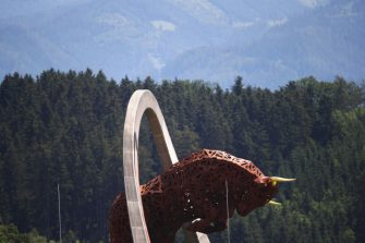 SPIELBERG, AUSTRIA - JULY 02: A general view of the Bull of Spielberg during previews for the F1 Grand Prix of Austria at Red Bull Ring on July 02, 2020 in Spielberg, Austria. (Photo by Bryn Lennon/Getty Images)