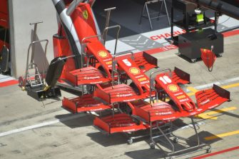 Several F1 nose cones are seen outside Ferrari's garage on July 2, 2020, on the eve of the first practice session at the Austrian Formula One Grand Prix in Spielberg, Austria. - Seven months after they last competed in earnest, the Formula One circus will push a post-lockdown re-set button to open the 2020 season in Austria on July 5. (Photo by JOE KLAMAR / AFP) (Photo by JOE KLAMAR/AFP via Getty Images)