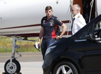 Red Bull's Dutch driver Max Verstappen leaves the aircraft upon his arrival to the military airport Hinterstoisser in Zeltweg, Austria on July 2, 2020, on the eve of the first practice session at the Austrian Formula One Grand Prix in Spielberg, Austria. - Seven months after they last competed in earnest, the Formula One circus will push a post-lockdown re-set button to open the 2020 season in Austria on July 5. (Photo by ERWIN SCHERIAU / APA / AFP) / Austria OUT (Photo by ERWIN SCHERIAU/APA/AFP via Getty Images)