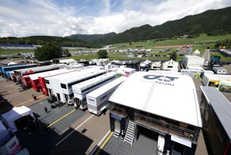 SPIELBERG, AUSTRIA - JULY 02:  A general view of the paddock during previews for the F1 Grand Prix of Austria at Red Bull Ring on July 02, 2020 in Spielberg, Austria. (Photo by Peter Fox/Getty Images)