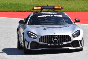 A safety car tests the track on July 2, 2020, on the eve of the first practice session at the Austrian Formula One Grand Prix in Spielberg, Austria. - Seven months after they last competed in earnest, the Formula One circus will push a post-lockdown re-set button to open the 2020 season in Austria on July 5. (Photo by JOE KLAMAR / AFP) (Photo by JOE KLAMAR/AFP via Getty Images)