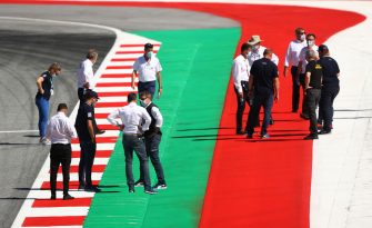 SPIELBERG, AUSTRIA - JULY 02: Members of the FIA inspect the track during previews for the F1 Grand Prix of Austria at Red Bull Ring on July 02, 2020 in Spielberg, Austria. (Photo by Bryn Lennon/Getty Images)