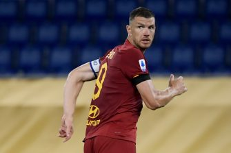 AS Roma's Bosnian forward Edin Dzeko reacts after scoring during the Italian Serie A football match AS Roma vs Sampdoria played on June 24, 2020 behind closed doors at the Olympic stadium in Rome, as the country eases its lockdown aimed at curbing the spread of the COVID-19 infection, caused by the novel coronavirus. (Photo by Filippo MONTEFORTE / AFP) (Photo by FILIPPO MONTEFORTE/AFP via Getty Images)
