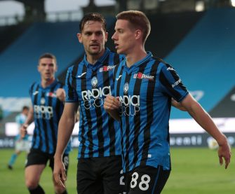 BERGAMO, ITALY - JULY 02:  Mario Pasalic of Atalanta BC celebrates with his team-mate Rafael Toloi after scoring the opening goal during the Serie A match between Atalanta BC and SSC Napoli at Gewiss Stadium on July 2, 2020 in Bergamo, Italy.  (Photo by Emilio Andreoli/Getty Images)