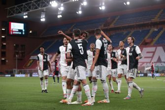 GENOA, ITALY - JUNE 30: Juventus's Argentinian striker Paulo Dybala celebrates with team mates after scoring to give the side a 1-0 lead during the Serie A match between Genoa CFC and  Juventus at Stadio Luigi Ferraris on June 30, 2020 in Genoa, Italy. (Photo by Jonathan Moscrop/Getty Images)