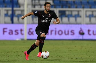 FERRARA, ITALY - JULY 01: Hakan Calhanoglu of AC Milan during the Serie A match between SPAL and AC Milan at Stadio Paolo Mazza on July 1, 2020 in Ferrara, Italy. (Photo by Chris Ricco/Getty Images)