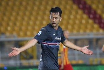 LECCE, ITALY - JULY 01: Maya Yoshida of Sampdoria during the Serie A match between US Lecce and  UC Sampdoria at Stadio Via del Mare on July 01, 2020 in Lecce, Italy. (Photo by Maurizio Lagana/Getty Images)
