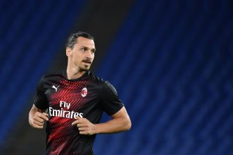 AC Milan's Swedish forward Zlatan Ibrahimovic warms up prior to the Italian Serie A football match Lazio vs AC Milan played behind closed doors on July 4, 2020 at the Olympic stadium in Rome, as the country eases its lockdown aimed at curbing the spread of the COVID-19 infection, caused by the novel coronavirus. (Photo by Tiziana FABI / AFP) (Photo by TIZIANA FABI/AFP via Getty Images)