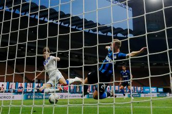 MILAN, ITALY - JULY 1: Christian Eriksen of FC Internazionale scores goal  during the Italian Serie A   match between Internazionale v Brescia at the San Siro on July 1, 2020 in Milan Italy (Photo by Mattia Ozbot/Soccrates/Getty Images)