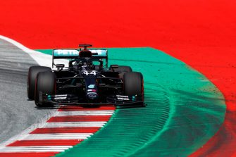 SPIELBERG, AUSTRIA - JULY 04: Lewis Hamilton of Great Britain driving the (44) Mercedes AMG Petronas F1 Team Mercedes W11 on track during qualifying for the Formula One Grand Prix of Austria at Red Bull Ring on July 04, 2020 in Spielberg, Austria. (Photo by Leonhard Foeger/Pool via Getty Images)