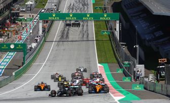 Drivers take the start of the Austrian Formula One Grand Prix race on July 5, 2020 in Spielberg, Austria. (Photo by Mark Thompson / various sources / AFP) (Photo by MARK THOMPSON/POOL/AFP via Getty Images)