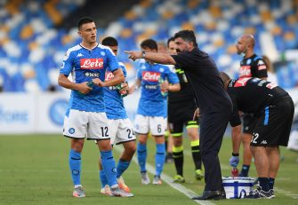 NAPLES, ITALY - JUNE 28: Eljif Elmas of SSC Napoli and his coach Gennaro Gattuso during the Serie A match between SSC Napoli and  SPAL at Stadio San Paolo on June 28, 2020 in Naples, Italy. (Photo by Francesco Pecoraro/Getty Images)
