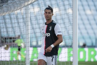 TURIN, ITALY - JULY 04: Cristiano Ronaldo of Juventus FC during the Serie A match between Juventus and Torino FC at Allianz Stadium on July 04, 2020 in Turin, Italy. (Photo by Stefano Guidi/Getty Images)