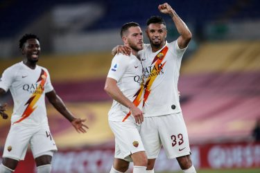 Roma s Jordan Veretout (L) and Roma s Bruno Da Silva Peres celebrates after scoring the 2-1 goal during the Italian Serie A soccer match between AS Roma vs Parma FC at the Olimpico stadium in Rome, Italy, 8 July 2020. ANSA/GIUSEPPE LAMI