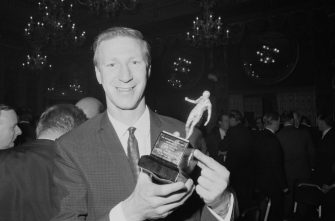 English soccer player Jack Charlton of Leeds United FC holding the award for 'Footballer of the Year', UK, 19th May 1967. (Photo by Powell/Daily Express/Hulton Archive/Getty Images)