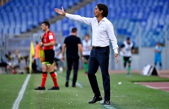 Lazio's head coach Simone Inzaghi reacts during the Serie A soccer match between SS Lazio and US Sassuolo at the Olimpico stadium in Rome, Italy, 11 July 2020. ANSA/RICCARDO ANTIMIANI