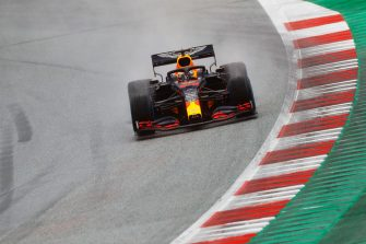 SPIELBERG, AUSTRIA - JULY 11: Max Verstappen of the Netherlands driving the (33) Aston Martin Red Bull Racing RB16 on track during qualifying for the Formula One Grand Prix of Styria at Red Bull Ring on July 11, 2020 in Spielberg, Austria. (Photo by Leonhard Foeger/Pool via Getty Images)