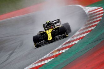 Renault's French driver Esteban Ocon steers his car during the qualifying for the Formula One Styrian Grand Prix on July 11, 2020 in Spielberg, Austria. (Photo by LEONHARD FOEGER / various sources / AFP) (Photo by LEONHARD FOEGER/AFP via Getty Images)