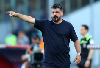 NAPLES, ITALY - JUNE 28: (BILD ZEITUNG OUT) Head coach Gennaro Gattuso of Napoli gestures during the Serie A match between SSC Napoli and SPAL at Stadio San Paolo on June 28, 2020 in Naples, Italy. (Photo by Matteo Ciambelli/DeFodi Images via Getty Images)