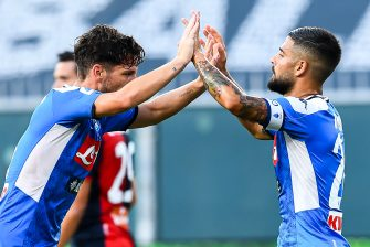 GENOA, ITALY - JULY 08: Dries Mertens of Napoli (left) celebrates with his team-mate Lorenzo Insigne after scoring a goal during the Serie A match between Genoa CFC and  SSC Napoli at Stadio Luigi Ferraris on July 8, 2020 in Genoa, Italy. (Photo by Paolo Rattini/Getty Images)